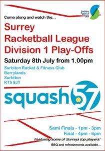Squash 57 Div 1 Play Offs at Surbiton